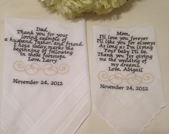 Set of Two Personalized WEDDING HANKIE'S Mother & Father of the Bride Gifts Hankerchief - Hankies you pick thread colors