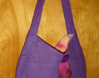 Purple Linen Purse Bag with Bling