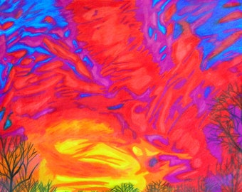 Cloud Colored Pencil Drawing - Landscape Original Fine Art Drawing - Sky on Fire