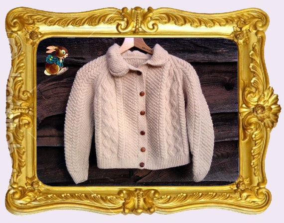 Gorgeous Woolen Cream Colored Handmade Children's Sweater
