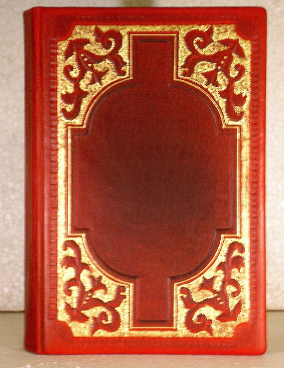 Leather Journal, Blank Book, Red Brown Leather, A5, Medieval style, Hard Cover, Handmade Gilding