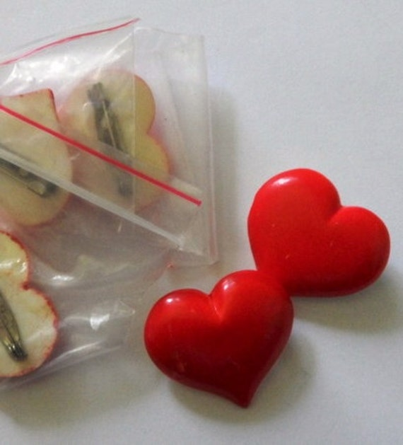 vintage 80s red heart brooches 3 pieces