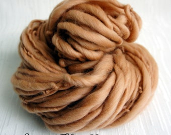 SALE: Bulky handspun yarn Almond Twist, Thick and Thin Yarn, Art Yarn, knitting supplies crochet supplies