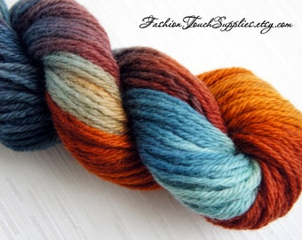 Autumn, Hand Painted Yarn in Shades of Teal, Orange and Brown, 200 yards, Knitting Supplies, Crochet Supplies