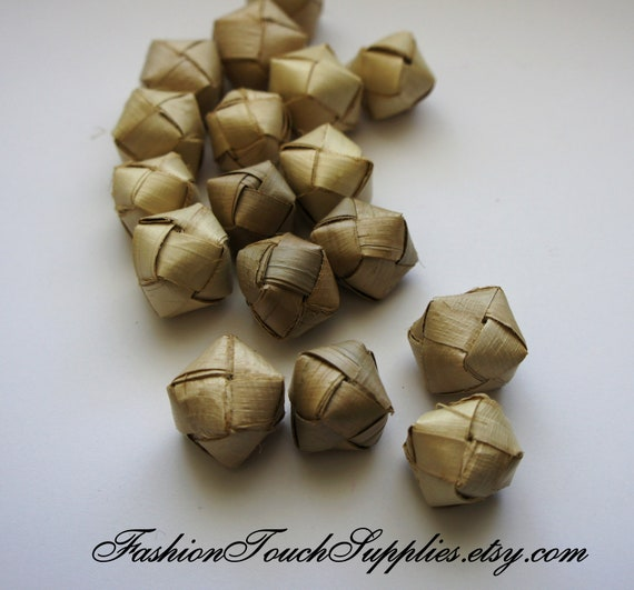 8 Bamboo Wrapped Hollow Beads