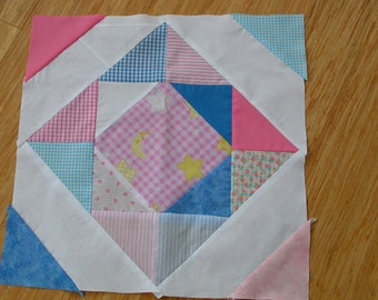 PDF PATTERN Diamond block 16 inch quilt block tutorial - medium skill printable instructions pdf file
