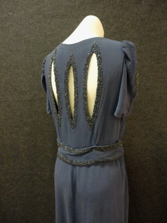 RESERVED 30s Dress // 1930s Evening Dress // Vintage 1930s Blue Rayon Crepe Dress with Beaded Cutouts from The Evening Room Bullocks M