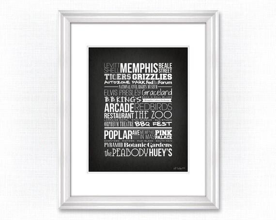 City Typography Prints: Memphis Places (Black)