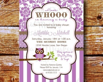 Baby Shower Invitation - Owl Shower Invitation - Baby Girl - Sip & See - Purple Brown Printable Invite - Matilda