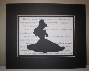 1 Beauty & the Beast 5 x 7 Silhouette - You pick image, color, background; matted and ready to frame - Lumiere, Cogsworth, Castle, Mirror
