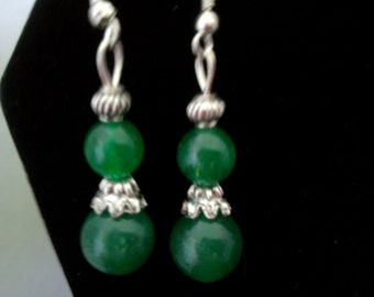 Green Dangle Earrings with silver Trendy and Stylish