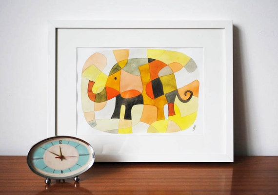 Nursery Art Print Kids Art Print Mid Century Modern Print of Elephant 1 pink yellow mustard orange black 8 x 10