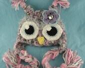 Fuzzy Owl Crocheted Baby Girl Newborn Infant Photo Prop Hat Photography Halloween Costume Winter Hat