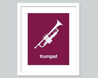 Nursery Art Print - Trumpet - 8x10 poster - nursery art - child's room decor