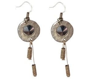 Elegant Silver Earrings with Black Swarovski Crystal