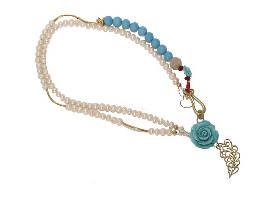 Striking Vintage Pearl Necklace with Turquoise Flower - Turquoise Beads - Red Crystals - Alice in Wonderland Collection - Limited Edition