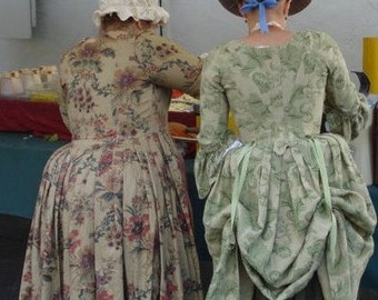 Ladies Reproduction, Linen 18th Century Georgian Colonial Polonaise Gown, Dress Made to Order