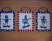 "Set of Three Boys 8""x10"" Blue Robot Canvas Panels... Kid's Room... Children's Room... Nursery Decor"