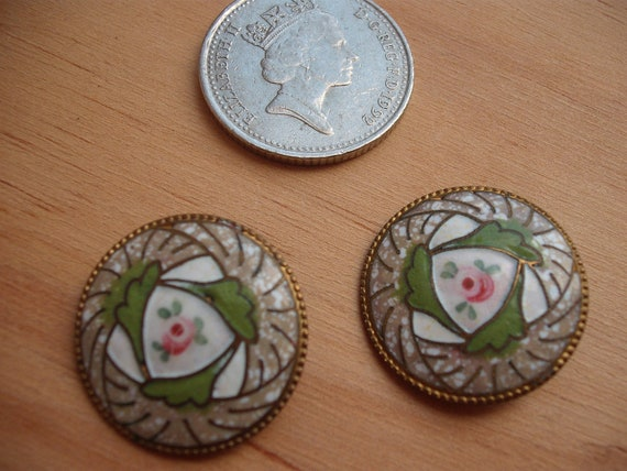 Pair of Vintage Enamel Buttons