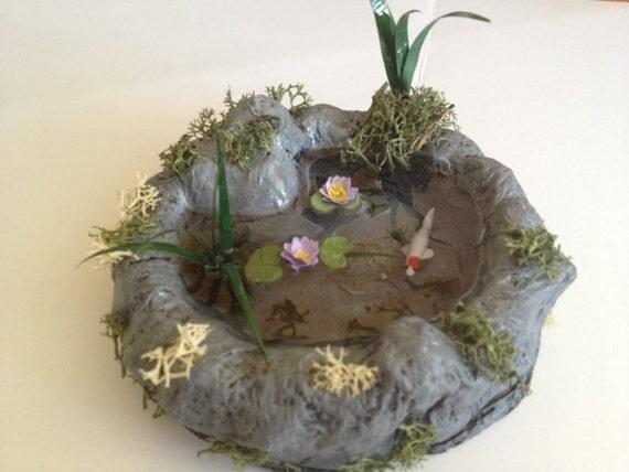 Items similar to koi pond dollhouse miniature with koi for Miniature fish pond