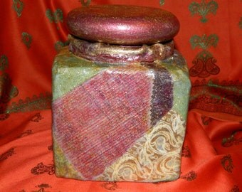 HAND CRAFTED Upcycled Patchwork Decoupage Multicoloured Decorative Vintage  Storage Jar