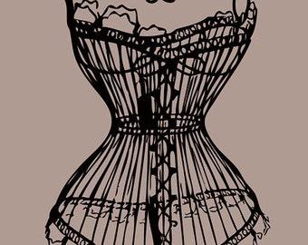Vintage burlesque erotic digital download - Wire Mannequin - printable art