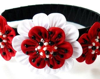 Kanzashi Fabric Flower headband, black, red and white.