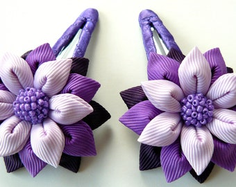 Kanzashi fabric flowers. Set of 2 hair snap clips. Plum, purple and orchid.