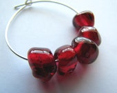 5- Cherry Red Glass Beads- Customizable