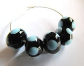 5- Black and Blue Polka Dot Glass Beads - Customizable