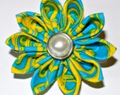 Blue and yellow kanzashi hair flower clip