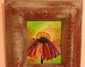Coneflower in Beautiful  16 x 20 Plaster Frame