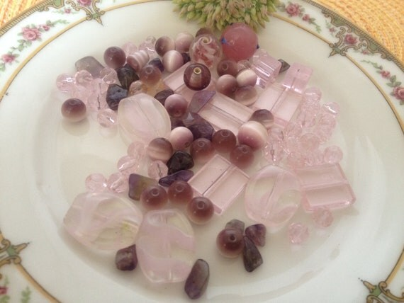 Pink & Purple Glass Bead Collection