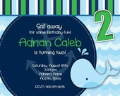 Birthday Party Invitation - Whale Nautical for Boy - DIY Printable Blue Stripes - No picture