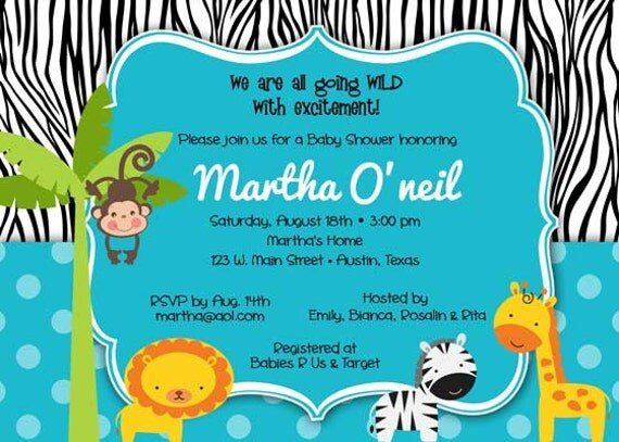 Blue Safari Baby Shower Invitations for adorable invitations example