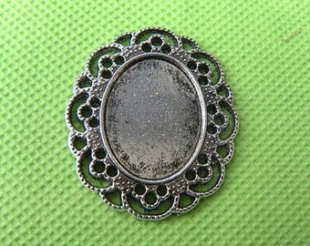 18x24mm Oval Pendant Tray, Oval Pendant Trays Filigree, Antique Silver Pendant Trays - Altered Art Jewelry making Supply - 5pcs