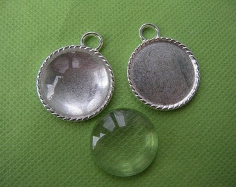 Silver Pendant Tray with 25mm glass cabochon,1 inch Bezel Pendant Cameo Setting 25mm Pendant Tray blanks DIY sets- 10 pcs