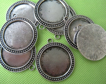 Antique Silver Pendant Tray 30mm blank Bezel 30mm Antique Silver cabochon settings 30mm - Unique tibetan silver pendant tray supply - 10 pcs