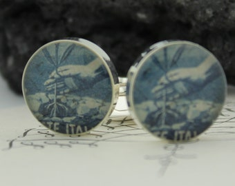 Cufflinks for Men - Genuine  Italian Stamp Cufflinks - Hand Planting '46 - Italian Cufflinks - Handmade Cuff Links