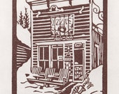 Izzy's - Framed Hand Pulled Linoleum Block Print 12 x 10 inches