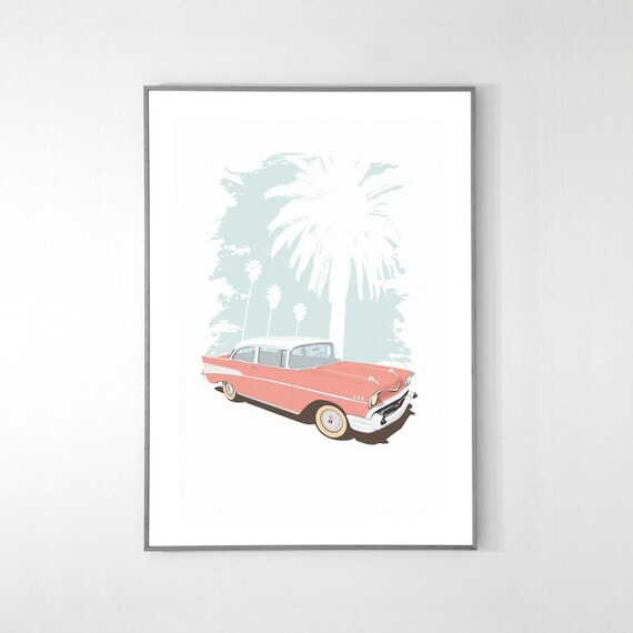 Chevy Bel Air 1957 Poster, BIG POSTER, 19x13 inches, Pink on Recycled Premium paper, Original Illustration