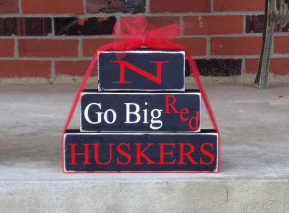 Nebraska Cornhuskers wood block set Go Big Red college football baseball basketball volleyball home decor