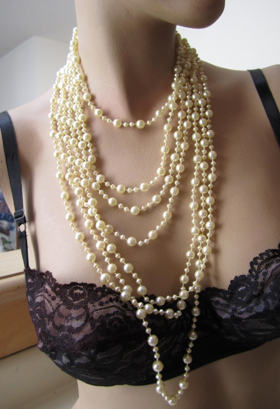 Vintage three creamy white extra long layering necklaces