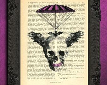 Steampunk skull, halloween skull wings parachute, vintage dictionary art print, skull wall hanging, purple gothic decor