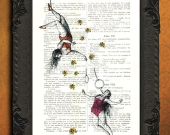 circus birthday illustration circus art trapeze circus artist art print