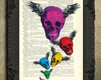 Skull with wings print | skull art | colorful skull dictionary art print home decor