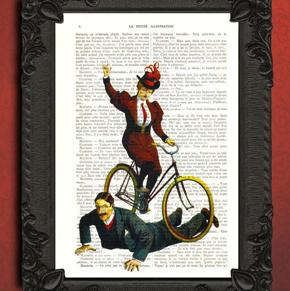 Circus decor, bicycle art, antique circus poster, dictionary art print circus lady with mustache man, vintage book page art print