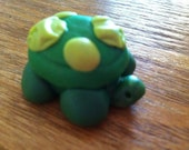 Sculpted Shamrock Green Turtle with Chartreuse dotted Shell made from polymer clay