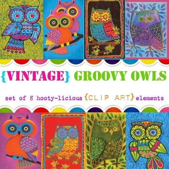 Digital Clip Art --  Vintage Groovy Owls (Instant Download)