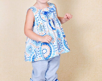 Summer girls blouse B9 tunic spring gift idea white blue green baby cotton top decorated with bow